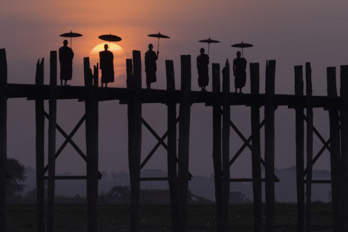 Monks on the U Bein Bridge, Amarapura, Myanmar